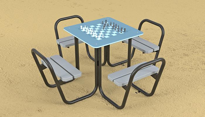 Mesa de ajedrez, mobiliario urbano de Krealia